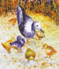 Entenmutter mit ihren Küken